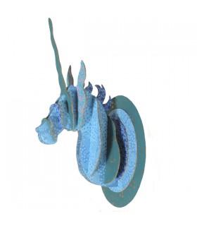 Trophée Licorne Bleu Pailleté