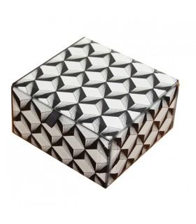 Boîte à bijoux graphique noire et blanche