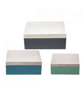 Boîte de Rangement en Bois Bicolore