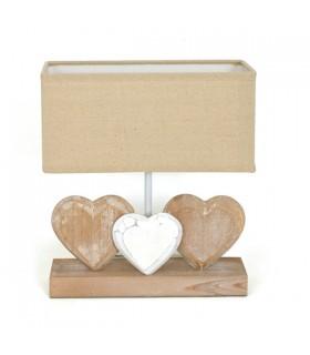 Lampe de table en bois 3 cœurs