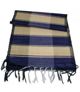 Chemin de Table en soie et Raphia Bleu