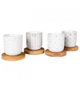 Coffret de 4 gobelets en Porcelaine Hexa