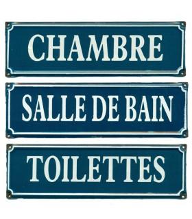 Plaque de Porte Rectangle Émaillé Bleue
