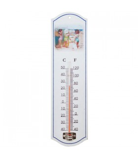 Thermomètre métal motif plage