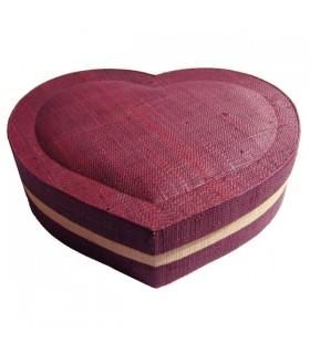 Boîte à bijoux cœur prune