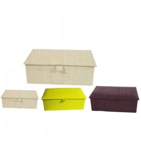 Boîte à bijoux compartimentée en raphia