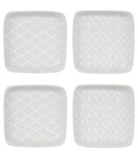Assiettes Carrées en Céramique Blanche Ice 1