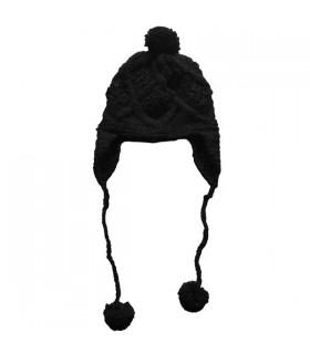 Bonnet pompon femme noir