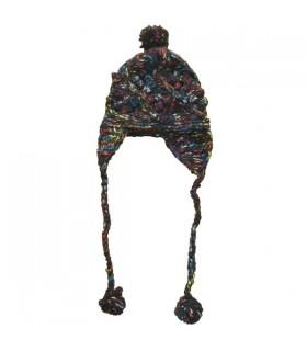 Bonnet pompon femme noir chiné