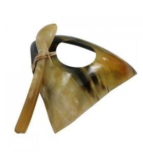 Coquetier et petite cuillère corne zébu triangle épuré naturel et brun