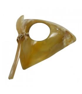Coquetier et petite cuillère en corne zébu triangle épuré naturel