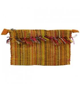 Trousse en raphia zippée multicolore Jaune