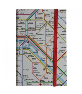 Carnet élastique Plan de métro Paris Blanc