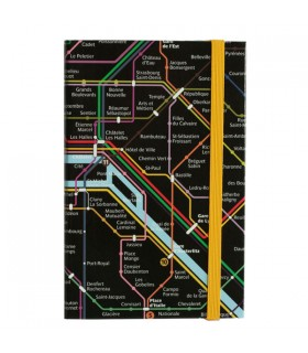 Carnet élastique Plan de métro Paris noir