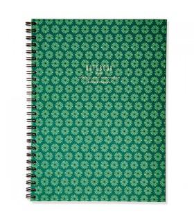 Cahier à Spirale Fleuri Vert