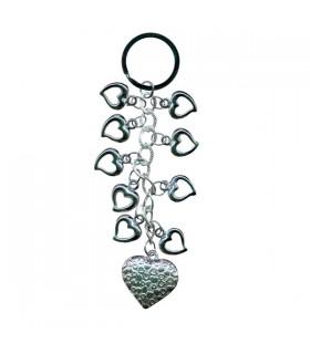 Porte-clés cœurs argentés