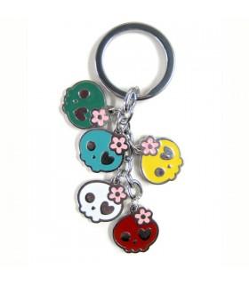 Porte-clés têtes de mort flower