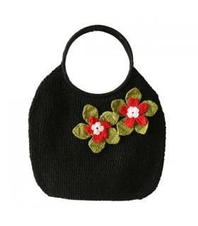 Sac à main en crochet noir fleur rouge