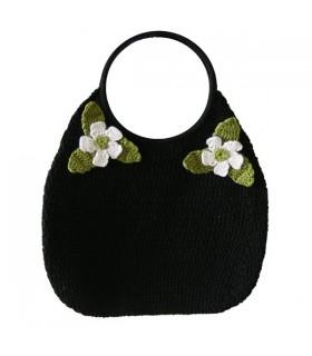 Sac à main en crochet noir fleur verte