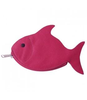 Porte-Monnaie en cuir poisson fuchsia