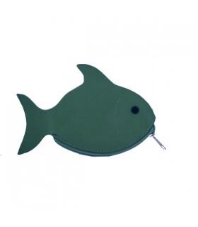 Porte-Monnaie en cuir poisson bleu canard