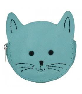 Porte-Monnaie en cuir chat bleu
