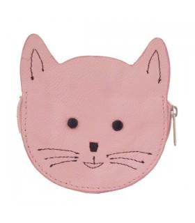 Porte-Monnaie en cuir chat rose