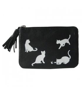 Porte-Monnaie en cuir chats et souris noir
