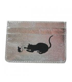 Porte-Cartes en cuir chat et souris argenté
