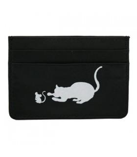 Porte-Cartes en cuir chat et souris noir