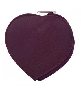 Porte-Monnaie en cuir cœur prune