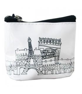 Porte-Monnaie souple Paris Noir et Blanc