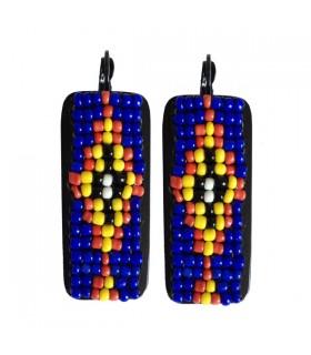 Boucles d'oreille Hippie Chic Bleu sur noir