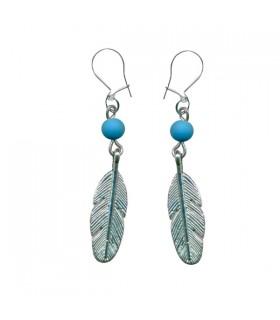 Boucles d'oreille plume bleues