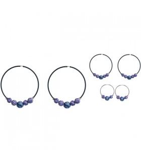 Boucles d'oreilles créoles perles fleuries