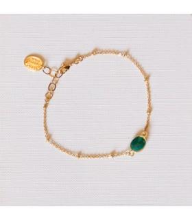 Bracelet plaqué or Agate Verte