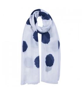 Écharpe imprimée blanche à pois bleus