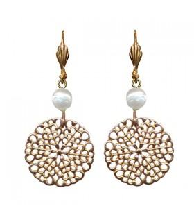 Boucles d'oreilles rosace perle baroque