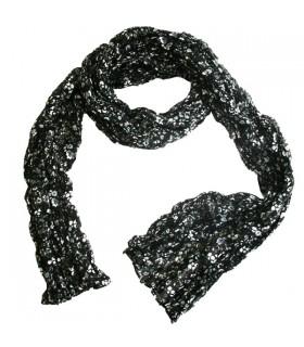 Écharpe femme fleurie noire
