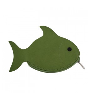 Porte-Monnaie en cuir poisson vert