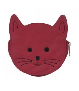 Porte-monnaie en cuir chat fuchsia