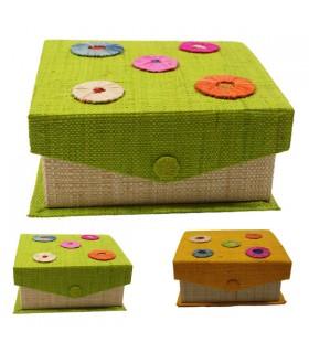 Boîte à bijoux carrée motif pastilles