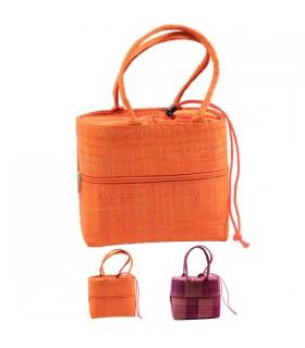 Panier poche zippée en raphia Orange
