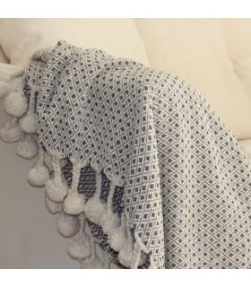 Plaid jeté de canapé jacquard beige et gris