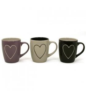 Petits mugs cœur Aurore, lot de 3