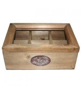 Boîte à thé en bois vintage 1