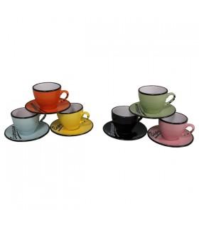 Set 6 tasses et sous tasses colorée Espresso