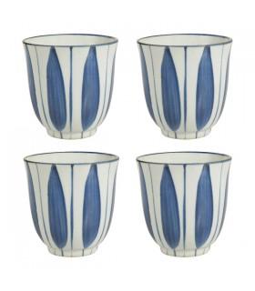 Coffret de 4 Grands Gobelets en céramique Japan Blue