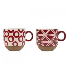 Duo tasses à thé en grès Rouge et Blanc