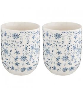 Gobelet Porcelaine Fleuri Bleu, le lot de 2